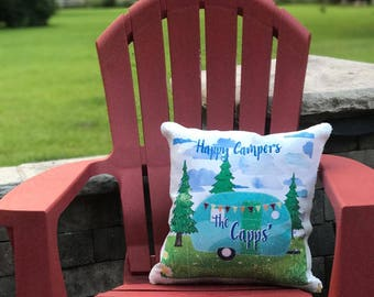 Happy Campers Custom Printed Sequin Pillow Cover - Glamping Pillow Cover - Sequin Mermaid Pillow Happy Family Camping