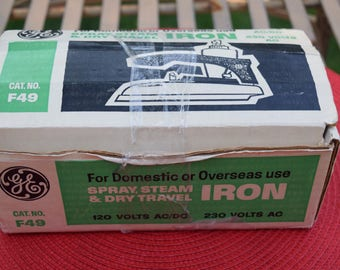 General Electric Travel Iron Model F49 1970's For Domestic and Overseas Use