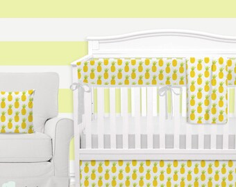 Watercolor Pineapple Baby Crib Bedding   Pineapple Baby Girl Nursery   Watercolor Pineapple Baby Bedding Set   Pineapple Crib Bedding Set