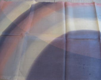 Rainbow Natural Silk Scarf from Paris, France. French vintage elegant gold, bronze to chocolate tones. Hand painted long slender neck wrap.