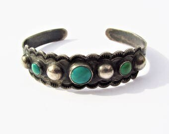 Early Coin Silver Harvey Era Tourist Cuff Bracelet With Three Turquoise Stones, Ball Motif And Native American Symbols Signed