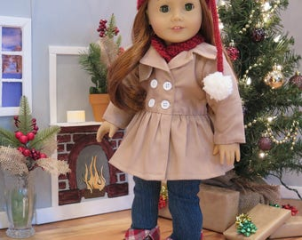 18 Inch Doll Beige Tan Coat - Fully Lined Peplum Jacket - Modern Winter Doll Clothes - American Made Girl Doll Clothes