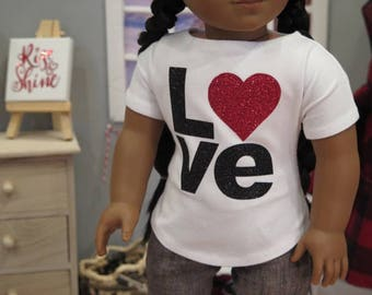 Newly Released - 18 Inch Doll Valentine's Day Tee Shirt - White Boatneck Knit Shirt - American Made Girl Doll Clothes - Modern Doll Clothes