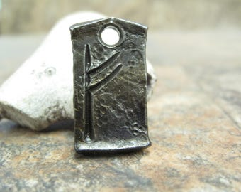 Fehu Celtic Viking rune pendant -  blacksmith forged wrought iron, steel, Burglar Rune gift idea
