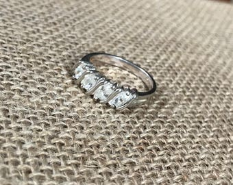 Vintage Sterling Silver And Cubic Zirconia Ring Size 8.5