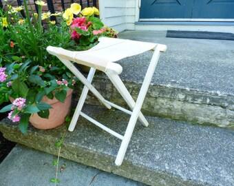 Canvas Wood Folding Stool // Camp Stool // Rustic Stool // Folding Stool Portable / ALifetimeofVintage