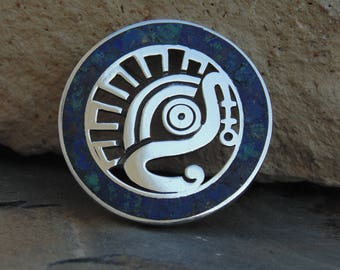 Miguel Melendez ~ Vintage Taxco Sterling Silver and Crushed Blue and Green Stone Tribal War Eagle Circle Pin / Brooch