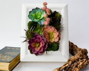 Faux Succulent Vertical Wall Picture Frame