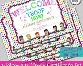 "Welcome to Troop Certificate, 8.5x11"", 4 Vest Colors, Instant Download, Word & JPG Format"