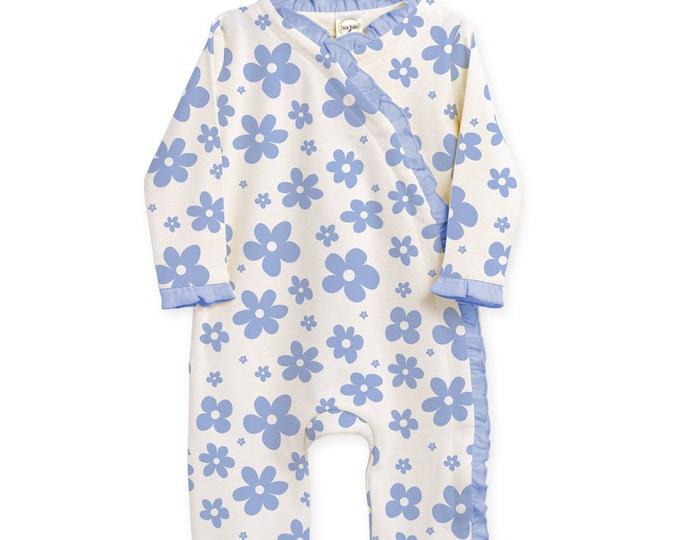 SUMMER SALE! Newborn Girl Coming Home Outfit, Newborn Baby Girl Romper, Baby Kimono Romper, Blue Floral Headband, TesaBabe RH830BLLB0000