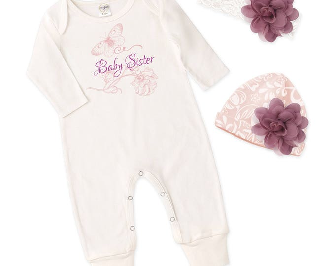 Baby Sister Coming Home Outfit, Newborn Girl Come Home Outfit, Baby Girl Take Home Romper Baby Sister, Tesababe RS810IY000237
