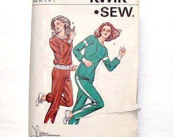 Vintage 1980 Kwik Sew Misses' Jogging Suit Pattern #1069 - UNCUT Master Pattern - Size XS+S+Med+Large