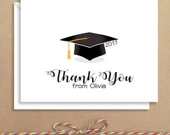 Graduation Note Cards - Grad Thank You Cards - Personalized Stationery - Thank You Notes - Folded Grad Note Cards
