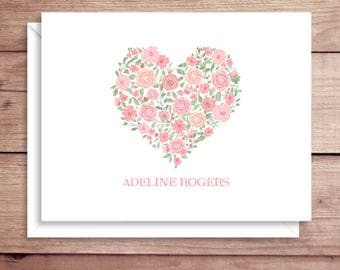 Floral Heart Note Cards - Folded Note Cards - Personalized Floral Stationery - Floral Thank You Notes - Flower Heart Note Cards