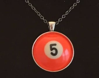 "Necklace - # 5 Pool Ball  (16""-24"")"