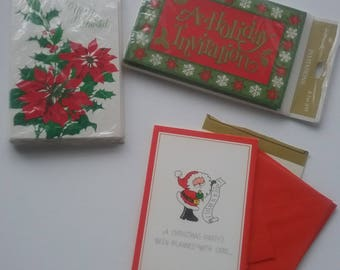 Vintage Christmas Invitations, Holiday Party Invitations, 1970s Hallmark, Xmas Party Invitations, Holiday Parties, Unused, Christmas Invites
