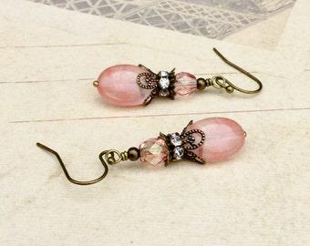 Pink Earrings, Victorian Earrings, Crystal Earrings, Bridal Earrings, Antique Gold Earrings,Czech Glass Beads, Womens Earrings, Gift for Her