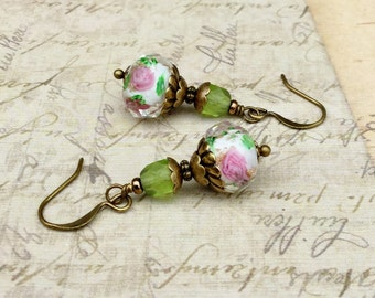 Green Earrings, Olive Green Earrings, Pink Earrings, Pink Flower Earrings, Flower Earrings, Czech Glass Beads, Lampwork Earrings, Gifts