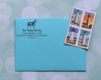 Dog Address Stamp, Husky Address Stamp, Siberian Husky Dog Stamp, Self Inking Address Stamp, Family Address Stamp, 0057