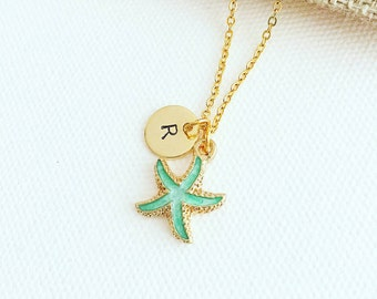 Personalised - Green Starfish charm necklace, initial necklace, starfish necklace, hand stamped necklace, monogram, gift ideas, gifts charm