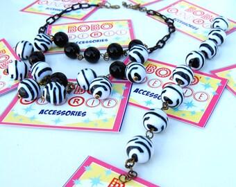 Zebra Beads Parure - Necklace and bracelet 40s&50s Vintage style