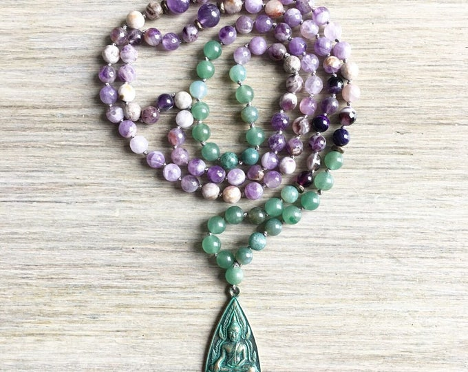 Amethyst Aventurine Amulet Mala Beads, 108 Mala, Gemstone, Handmade, Hand-knotted, Meditation, Yoga, Prayer Beads, Chakra