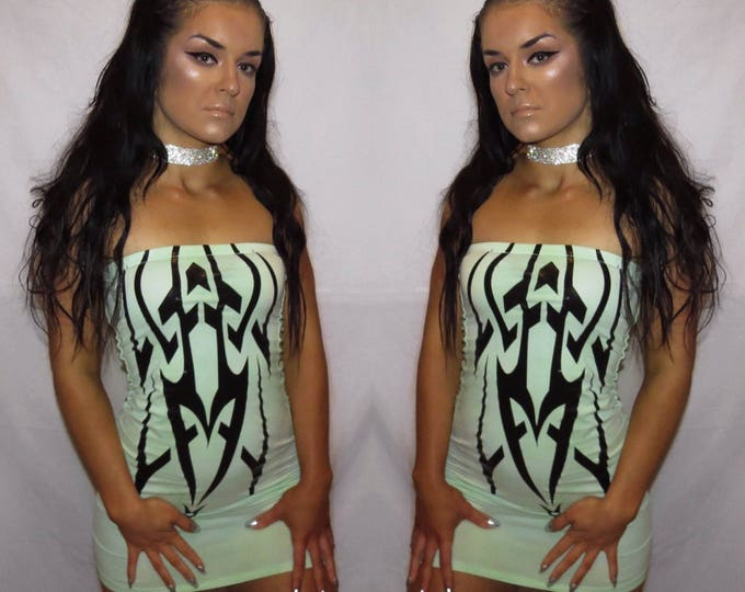 Green// CYBER cotton tube dress