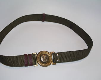 Vintage Soviet Era Polish Scout Canvas Belt with Metal Buckle Military belt 80s Army belt army green men's belt women's belt green belt M