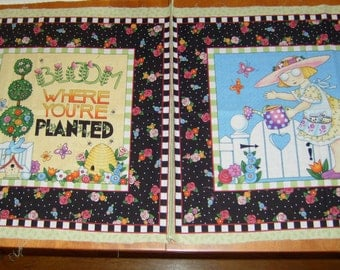 "2 Mary Engelbreit fabric panels /""Bloom Where You're Planted""+girl w/watering can/sewing/quilting/pillow making/fabric destash/tote bag DIY"