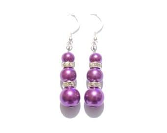 purple beaded earrings, purple pearl earring, purple earrings, pearl earrings, dangle earrings, earrings, bridesmaid earrings, drop earrings