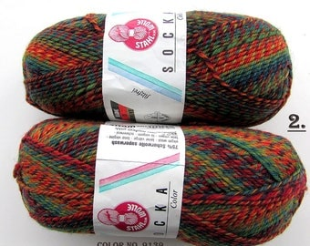 KNITTING WOOL//SOCKA 50//(2 X 50gr.Balls)Sport Wool by-Stahal - Orange/green/Variegated/100 gr. Makes 1-Adult pair/Was(24.00) Now!!