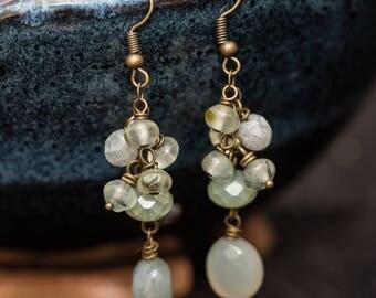 Pale green glass bead cluster drop earrings