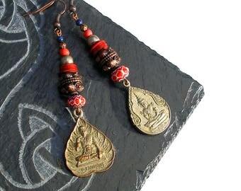 Boucles d'oreilles ethniques Bouddha Thailande, lapis lazuli Tibet bohème rustique milleriori cuivre argenté hippie boho gipsy unique ooak