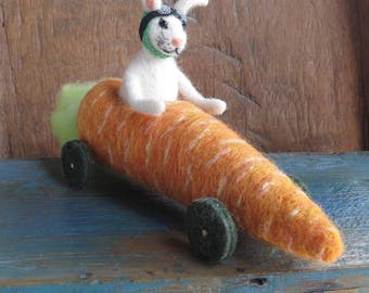 OOAK Needle Felted Easter Bunny Rabbit Driving Carrot Go-Cart