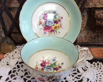 Hammersley Pastel Mint Green Tea Cup and Saucer Floral Posy Artist Signed F Howard #3069-7