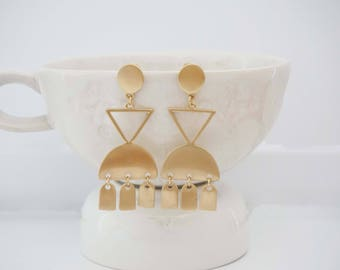 Matte Gold Geometric Statement Earrings