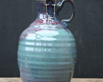 64 oz. Pottery Beer Growler! Handmade Ceramic Growler: Great for the brewery, homebrew, cider or kombucha too! Gift for the beer lover.