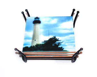 Cape May Light House Ceramic Drink Beach Coaster(s) / Sold Individually or Set of 4 / Housewarming Gift for Beach House