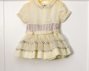 12 Months: Sheer Yellow Organdy Party dress, Stripe Detailing, Full Skirt, Embroidered Collar