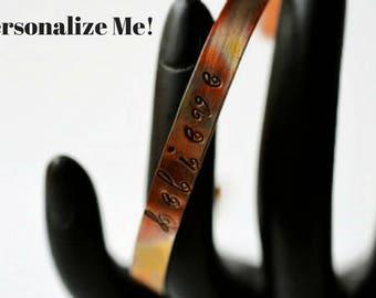 Personalized Bracelet - Copper Stacking Bracelets - Believe Bracelet - Inspiration Jewelry - Boho Bracelet - Quote Bracelet - Motivational