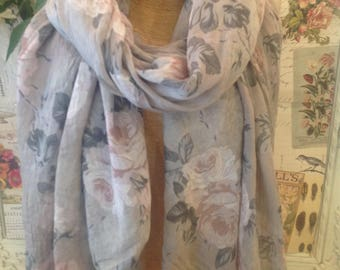 Beige scarf with pale pink rose pattern cotton and silk mix