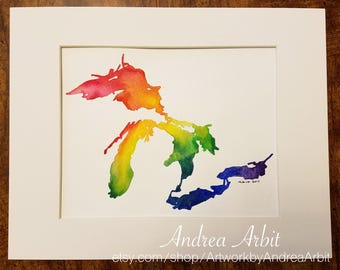 "8""x10"" Original Watercolor Painting - ""The Great Lakes Rainbow"""