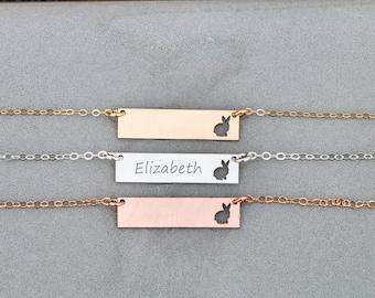 SALE • Bunny Necklace • Cute Rabbit Necklace Bar Jewelry • Cute Jewelry Bunny • Rabbit Charm • Cute Pet Gift • Bunny Personalized Rabbit