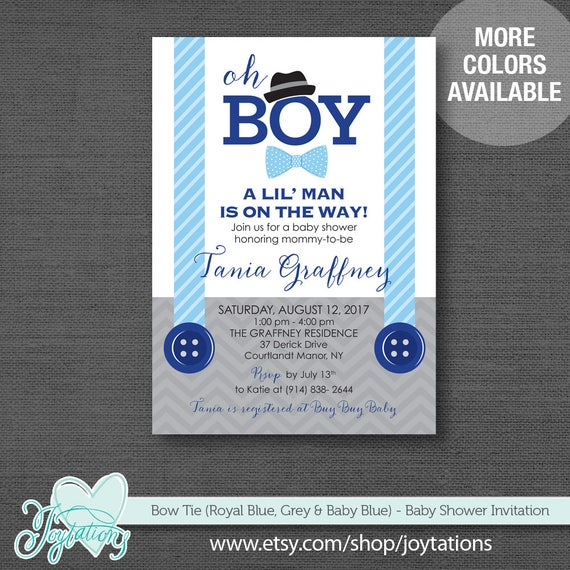 Bow tie royal blue baby blue and grey baby shower invitation il570xn filmwisefo