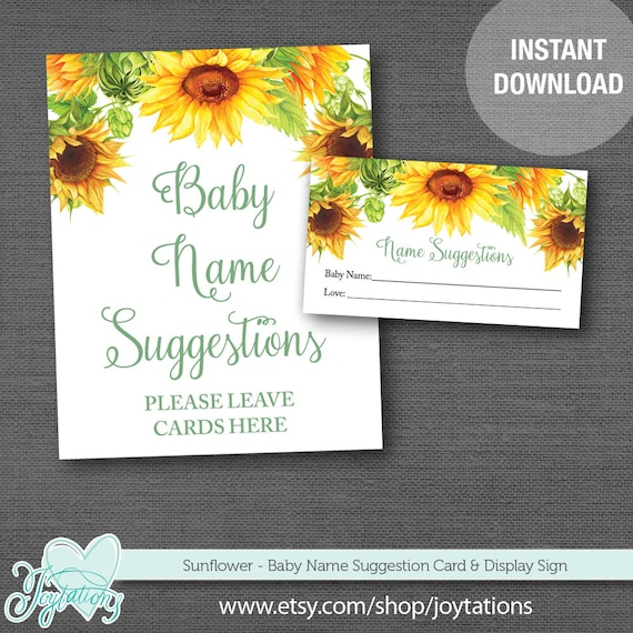 sunflower baby name suggestions instant download baby shower game
