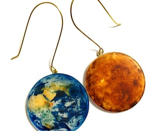 Planet Earth and Sun, Solar System, Galaxy, Universe, Geekery, Geeky, Astronomy, Gold Earrings, Cool, fun, Big Bold Statement Earrings