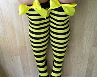 SALE Rhoda Yellow & Black Stripy Bows Lingerie Thigh High Stockings