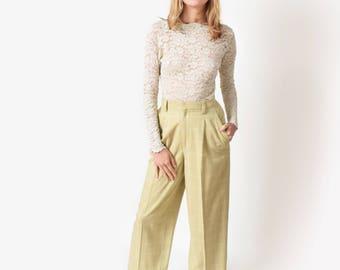 Sage Windowpane Trousers Vintage High Waist Wide Leg Pants 27 S