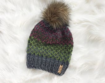 Gray Fair Isle Beanie / Knit Winter Hat / Light Green Dark Green Purple / Faux Fur Pom Pom