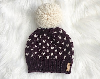 Sparkly Purple & Cream Tinsel Fair Isle Knit Winter Hat + HUGE Pom Pom